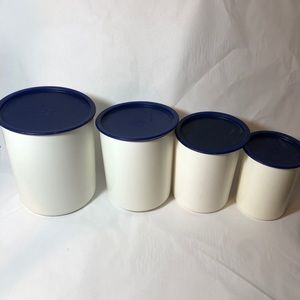 Tupperware Canister White Blue Lids 8 Pc Set